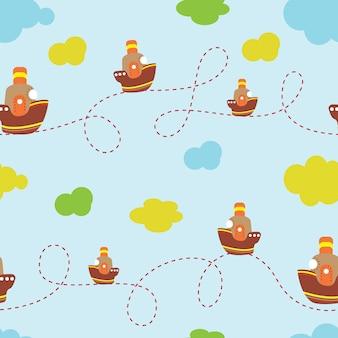 Fond d enfants avec l image d un bateau