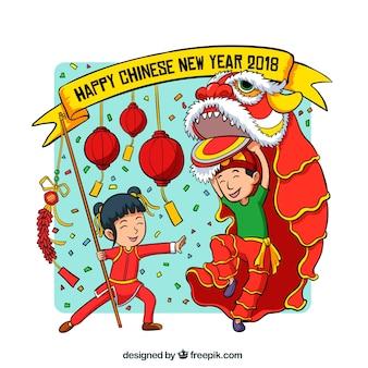 Fond avec des enfants pour la nouvelle année chinoise