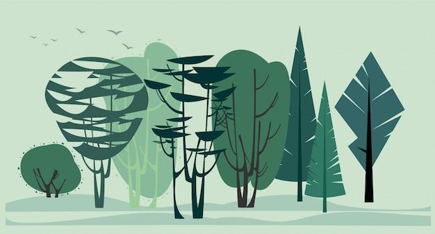Fond avec un ensemble d'arbres graphiques.