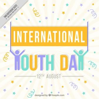 Fond enthousiaste de la journée de la jeunesse avec streamer et des points