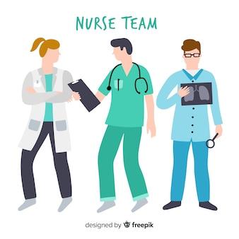 Fond d'équipe infirmière dessiné à la main