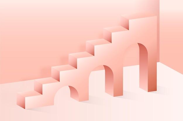 Fond d'escalier 3d dégradé