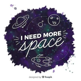 Fond de l'espace avec une citation de motivation