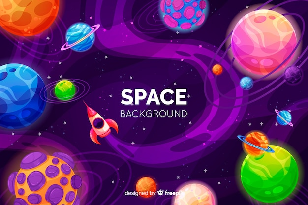 Fond d'espace coloré dessiné à la main