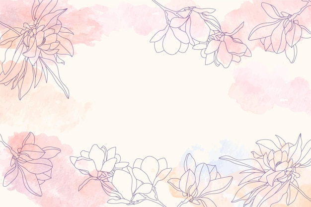 Fond d'espace copie aquarelle avec des éléments floraux dessinés à la main