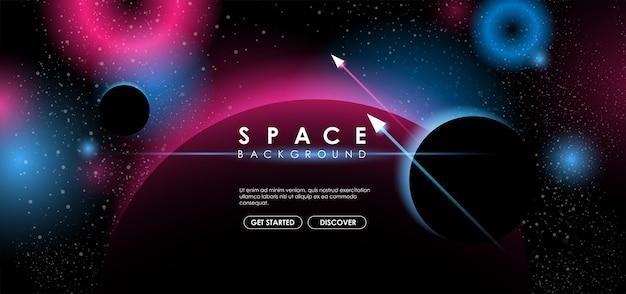 Fond d'espace créatif avec forme abstraite et planètes.