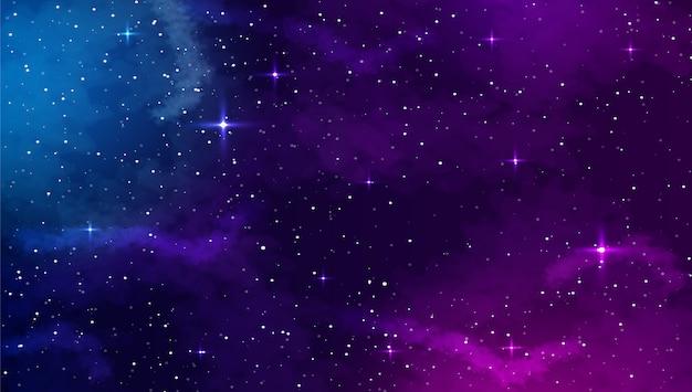 Fond d'espace avec forme abstraite et étoiles.
