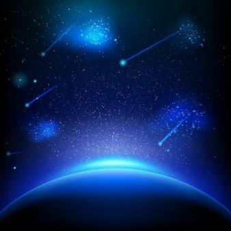 Fond d'espace avec lumière bleue.