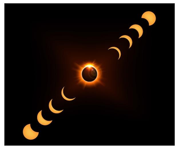 Fond de l'espace avec la lumière du soleil d'or et la lune de croissant
