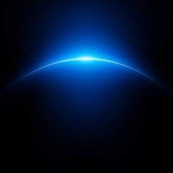 Fond de l'espace avec la planète et la lumière brillante.