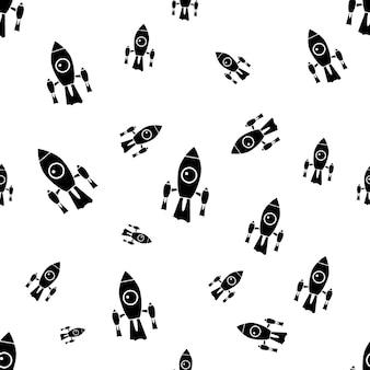 Fond de l'espace pour les enfants. modèle sans couture de vaisseau spatial avec des fusées de silhouette. fond d'écran de vecteur stock isolé.