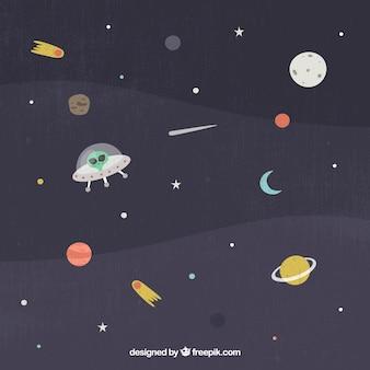 Fond d'espace avec soucoupe volante