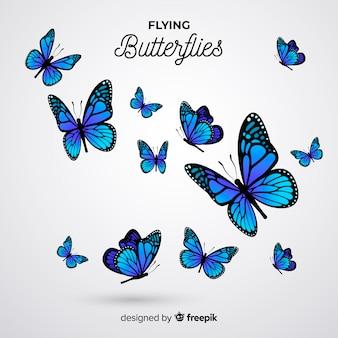 Fond d'essaim de papillons réalistes