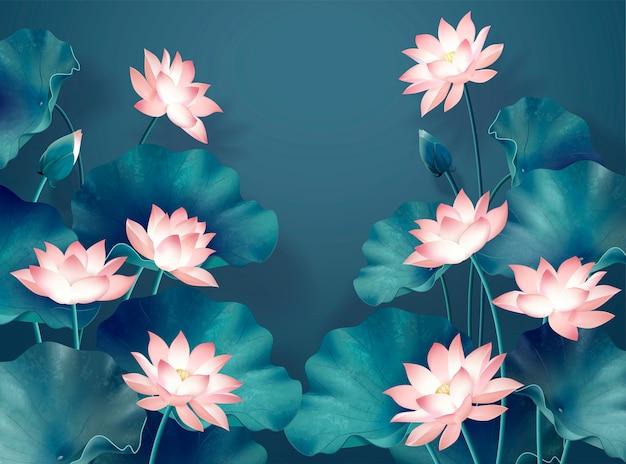 Fond d'étang de lotus gracieux