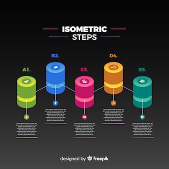 Fond d'étapes d'infographie isométrique
