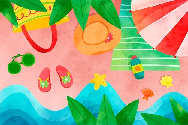 Fond d'été aquarelle peint à la main