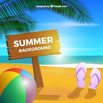 Fond d'été avec ballon et tongs