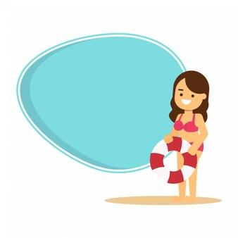 Fond d'été avec une belle fille en bikini