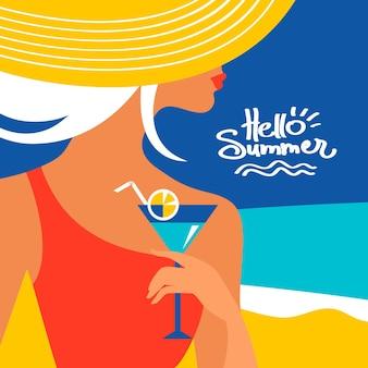 Fond d'été avec une belle silhouette de femme au bord de la mer. illustration vectorielle