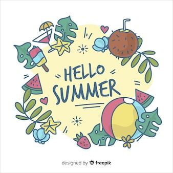 Fond d'été bonjour dessinés à la main