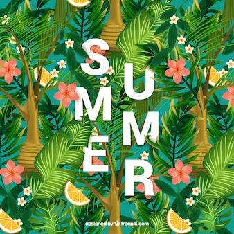 Fond d'été avec des citrons et des feuilles de palmier