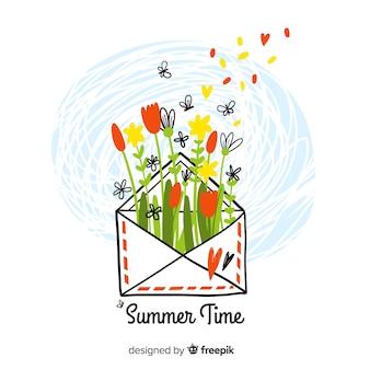 Fond d'été coloré bonjour dessinés à la main