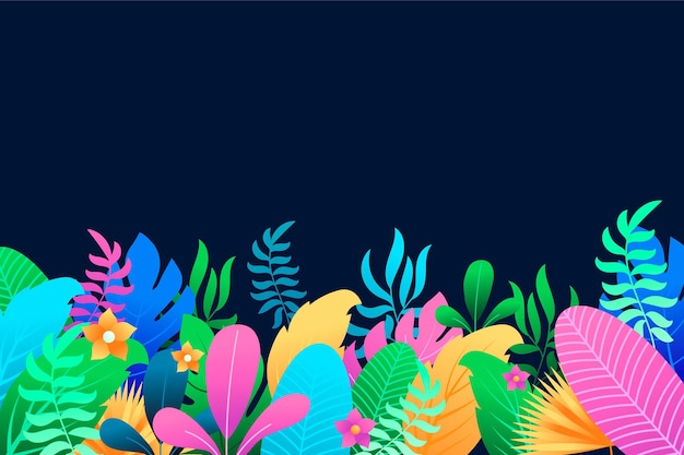 Fond d'été coloré avec des feuilles et des fleurs