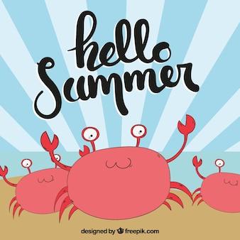 Fond d'été avec des crabes dessinés à la main