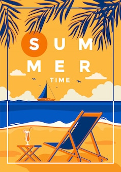 Fond d'été design plat heure d'été