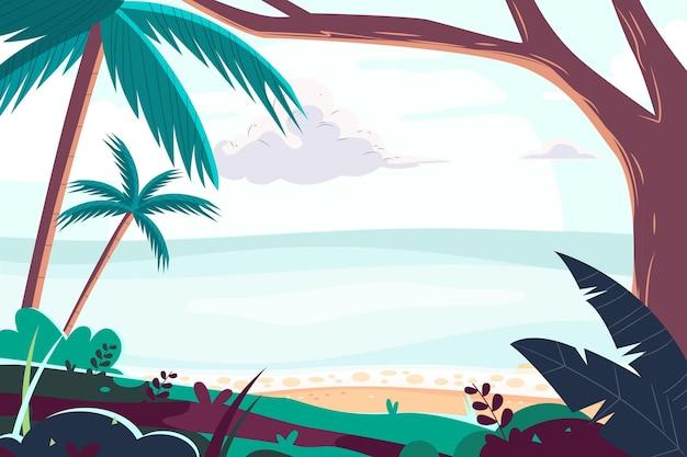 Fond d'été de dessin animé pour les appels vidéo