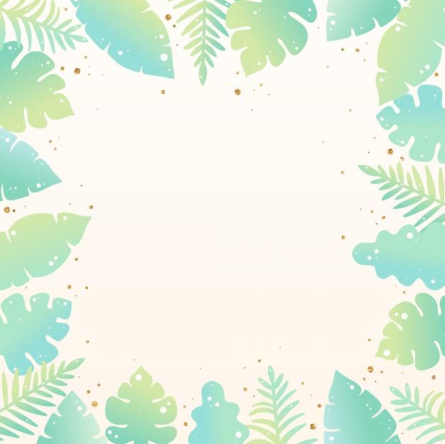 Fond d'été dessiné à la main des feuilles tropicales
