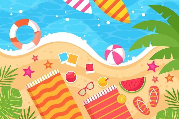 Fond d'été de l'eau et des accessoires de plage