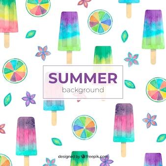 Fond de l'été avec des éléments aquarelles