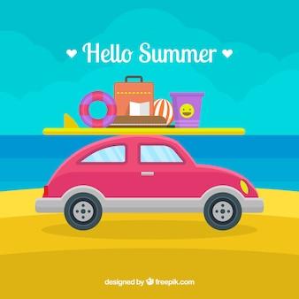 Fond de l'été avec des éléments de plage