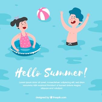Fond d'été avec des enfants qui jouent dans l'eau