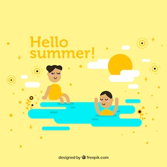 Fond d'été avec des enfants qui jouent à la plage