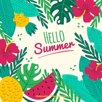 Fond de l'été avec des feuilles et des fruits