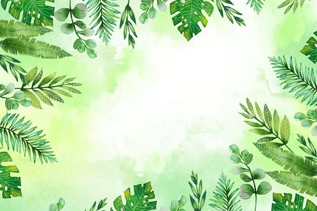 Fond d'été de feuilles tropicales aquarelle peintes à la main
