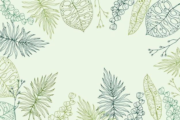 Fond d'été de feuilles tropicales dessinées à la main de gravure