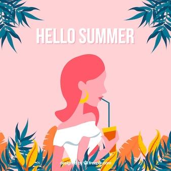 Fond de l'été avec une fille buvant un cocktail