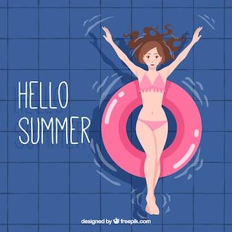Fond d'été avec une fille dans la piscine