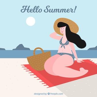 Fond de l'été avec une fille se faire bronzer