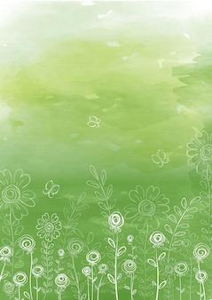 Fond d'été avec des fleurs et des herbes de doodle linéaire sur un fond de texture aquarelle verte.