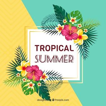 Fond d'été avec des fleurs tropicales