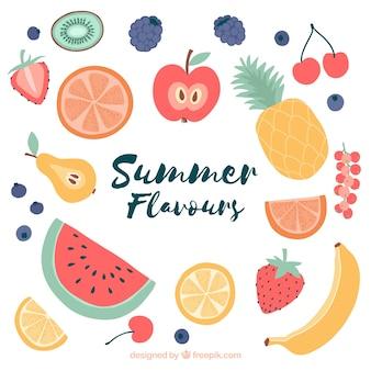 Fond d'été avec des fruits colorés