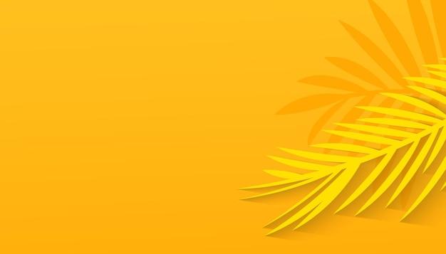 Fond d'été jaune blanc avec feuille tropicale