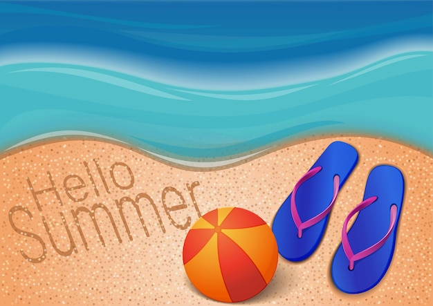 Fond d'été avec la mer, la plage, le ballon, les tongs et l'inscription sur le sable. bonjour été. conception pour la saison estivale. illustration