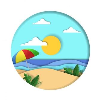Fond d'été avec style papercut sur cercle premium