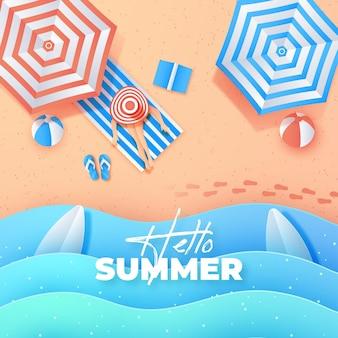 Fond d'été de style papier avec des parapluies