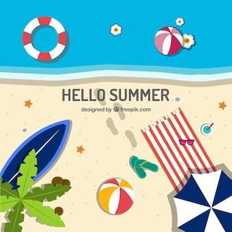 Fond de l'été avec vue sur la plage et des éléments
